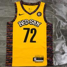 Nets BIGGIE #72 Yellow NBA Jerseys Hot Pressed