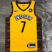 Nets Durant #7 Yellow NBA Jerseys Hot Pressed