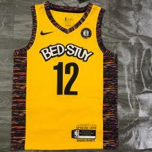 Nets HARRIS #12 Yellow NBA Jerseys Hot Pressed