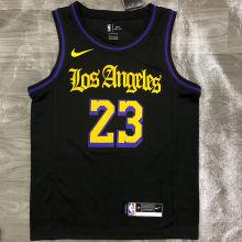 2021 LA Lakers JAMES #23 Black Latin Black NBA Jerseys Hot Pressed