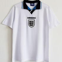 1996 England Home White Retro Soccer Jersey