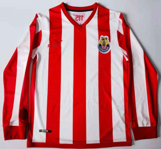 2021 Chivas 115Year Red Whte Long Sleeve Soccer Jersey