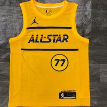 2021 ALL STAR Dončić # 77 JD Yellow NBA Jerseys Hot Pressed