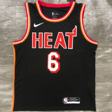 Miami Heat JAMES # 6 Black NBA Jerseys Hot Pressed