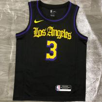 2021 LA Lakers DAVIS #3 Black Latin Black NBA Jerseys Hot Pressed