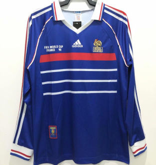 1998 France Home Long Sleeve Retro Soccer Jersey