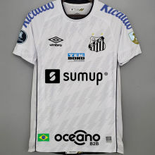 2021/22 Santos1:1 Home White Fans Soccer Jersey有解放者3臂章 (Have Libertadores 3 Patch+ALL AD)