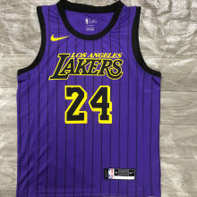2018 LA Lakers BRYANT # 24 Purple Stripe Limited Edition NBA Jerseys Hot Pressed