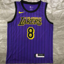 2018 LA Lakers BRYANT #8 Purple Stripe Limited Edition NBA Jerseys Hot Pressed