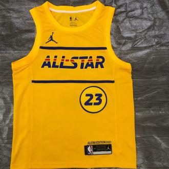 2021 ALL STAR JAMES # 23 JD Yellow NBA Jerseys Hot Pressed