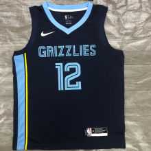 Grizzlies Morant #12 Royal Blue NBA Jerseys Hot Pressed