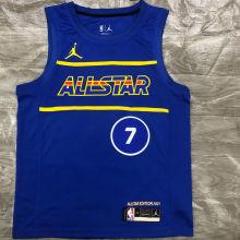 2021 ALL STAR DURANT # 7 JD Blue NBA Jerseys Hot Pressed