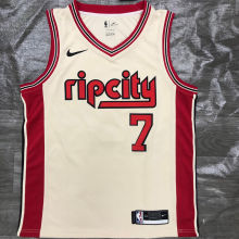 Trail Blazers ROY #7 Beige NBA Jerseys Hot Pressed