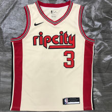 Trail Blazers McCOLLUM #3 Beige NBA Jerseys Hot Pressed