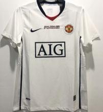 2008/09 M Utd Away White Retro UCL Version Soccer Jersey(胸前有绣欧冠决赛小字)