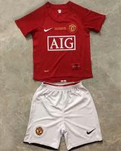 2007-08 M Utd Home Red Retro Kids Soccer Jersey