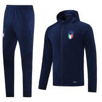2021/22 Italy Royal Blue Hoody Zipper Jacket Tracksuit