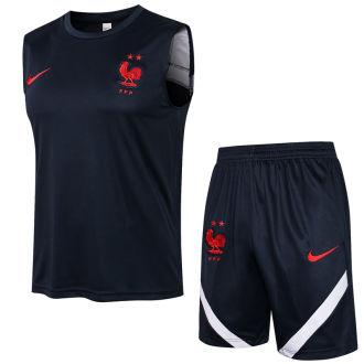 2021/22 France Blue Vest Short Training Jersey (A Set)