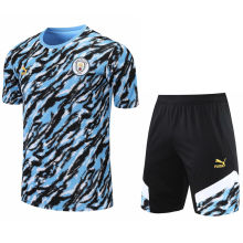 2021/22 Man City Blue Short Training Jersey(A Set)拉链口袋