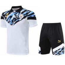 2021/22 Man City Blue White Short  POLO Jersey(A Set)拉链口袋