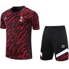 2021/22 AC Red Black Short Training Jersey(A Set)拉链口袋