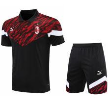 2021/22 AC Red Black Short POLO Jersey(A Set)拉链口袋