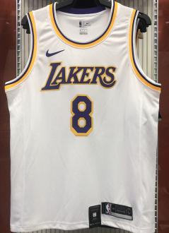 LA Lakers BRYANT # 8 White NBA Jerseys Hot Pressed