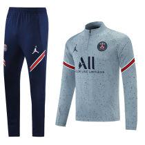 2021/22 PSG Grey Sweater Tracksuit 背后有广告