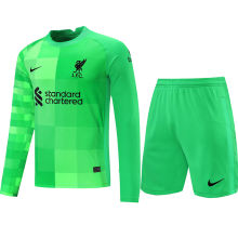 2021/22 LFC Green Long Sleeve Soccer Jerse (A Set)(Pants Have Number)裤有号码