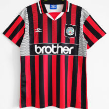 1994/1996 Man City Away Red Black Retro Soccer Jersey