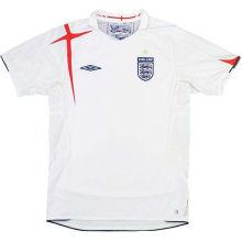 2006 England Home White Retro Soccer Jersey