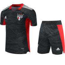 2021/22 Sao Paulo Black Red GK Soccer Jersey(A Set)(Pants Have Number)裤有号码