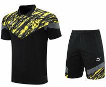 2021/22 BVB Black Yellow Short  POLO Jersey(A Set)拉链口袋