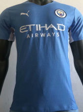 2021/22 Man City Home Blue Player Version Soccer Jersey