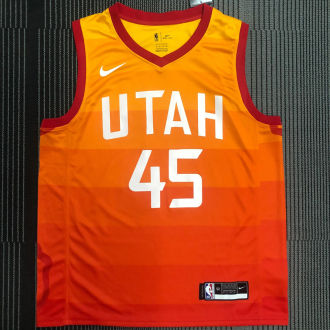 Jazz MITCHELL #45 Orange NBA Jerseys Hot Pressed