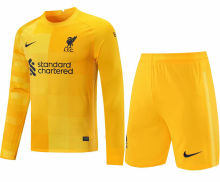 2021/22 LFC Yellow Long Sleeve Soccer Jerse (A Set)(Pants Have Number)裤有号码