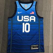 TATUM # 10 Tokyo Olympic 2020 Dream Team Blue Jerseys Hot Pressed