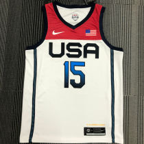 BOOKER # 15 Tokyo Olympic 2020 Dream Team White Jerseys Hot Pressed