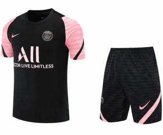 2021/22 PSG Black Pink Short Training Jersey(A Set)拉链口袋
