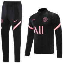 2021/22 PSG 胸前只有ALL Black Half Pull Sweater Tracksuit
