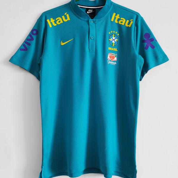 2021/22 Brazil Light Blue POLO Soccer Jersey有钮