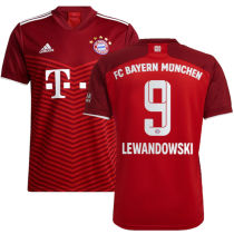LEWANDOWSKI #9 BFC Home 1:1 Red Fans Soccer Jersey 2021/22