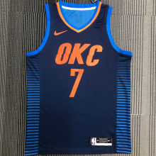 OKC THUNDER ANTHONY #7 Blue NBA Jerseys Hot Pressed