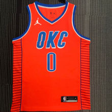 OKC THUNDER WESTBROOK # 0 Orange NBA Jerseys Hot Pressed