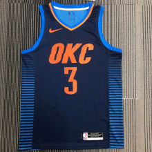 OKC THUNDER PAUL # 3 Blue NBA Jerseys Hot Pressed
