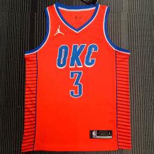 OKC THUNDER PAUL # 3 Orange NBA Jerseys Hot Pressed