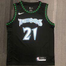 2018 Timberwolves GARNETT # 21 Black Retro NBA Jerseys Hot Pressed