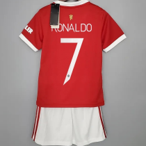 RONALDO #7 M Utd Home Kids Jersey 2021/22(UCL Font 欧冠字体)