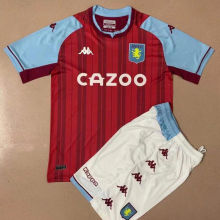 2021/22 Aston Villa Home Kids Soccer Jersey