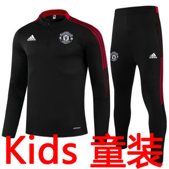 2021/22 M Utd Black Kids Sweater Tracksuit